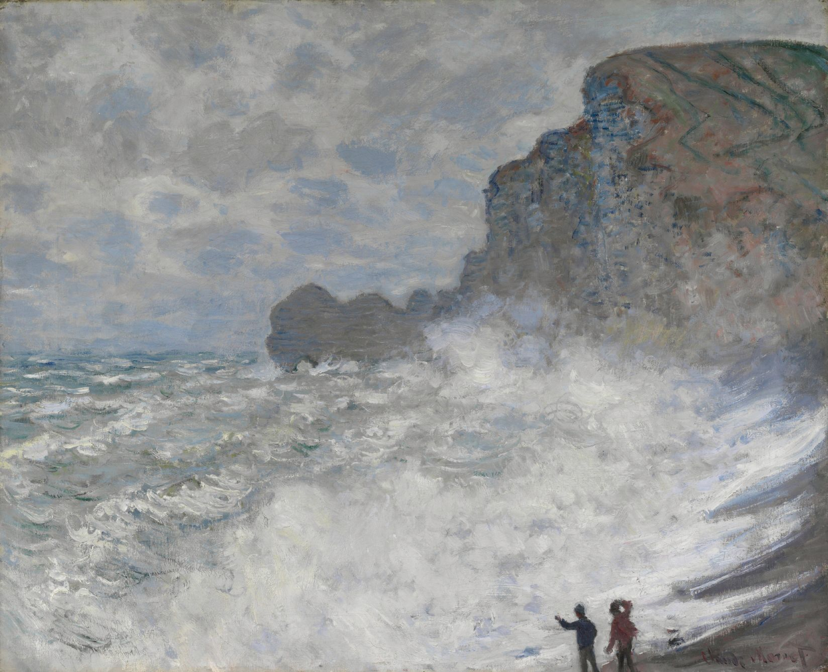 """NGV on Twitter: """"Claude Monet's painting depicts the popular seaside resort  of Étretat on the Normandy coast and an actual grain of sand is still  embedded in the paint. See it on"""