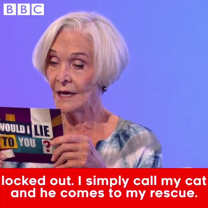 Sheila Hancock's home security system is just purrfect... 😹 #WouldILieToYou 8.30pm @BBCOne https://t.co/sa1CSllnHX