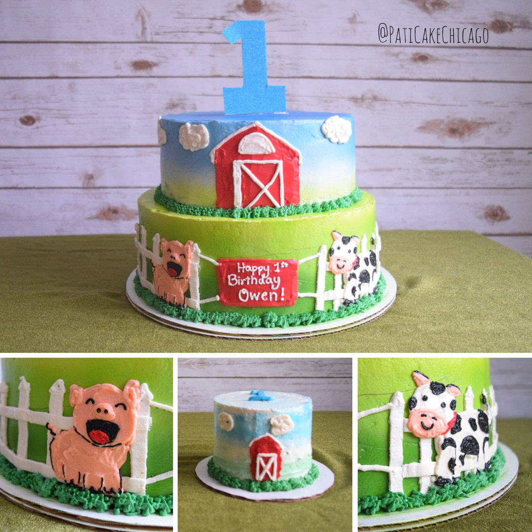 Astounding Pati Cake On Twitter Happy 1St Birthday Owen Farm Animals Theme Funny Birthday Cards Online Inifodamsfinfo