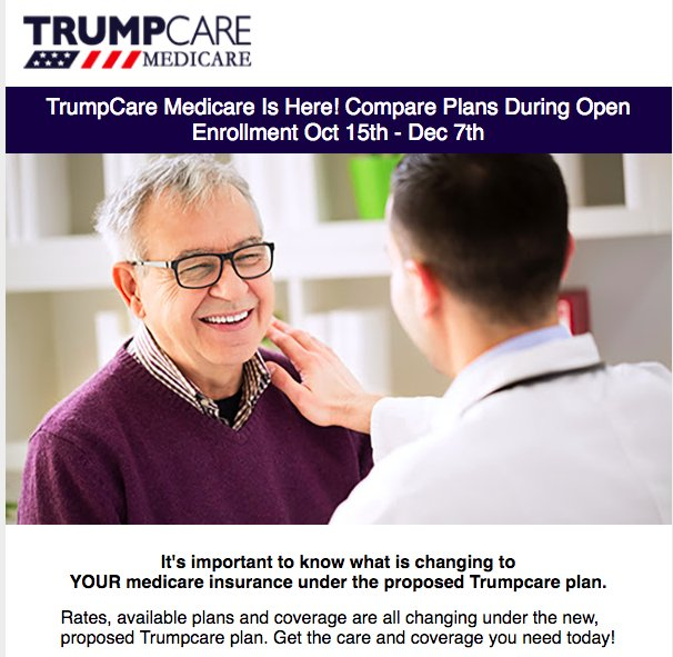 TrumpCare spam, coming your way  (though it looks like they haven't decided on a style for Trumpcare, c up or down)