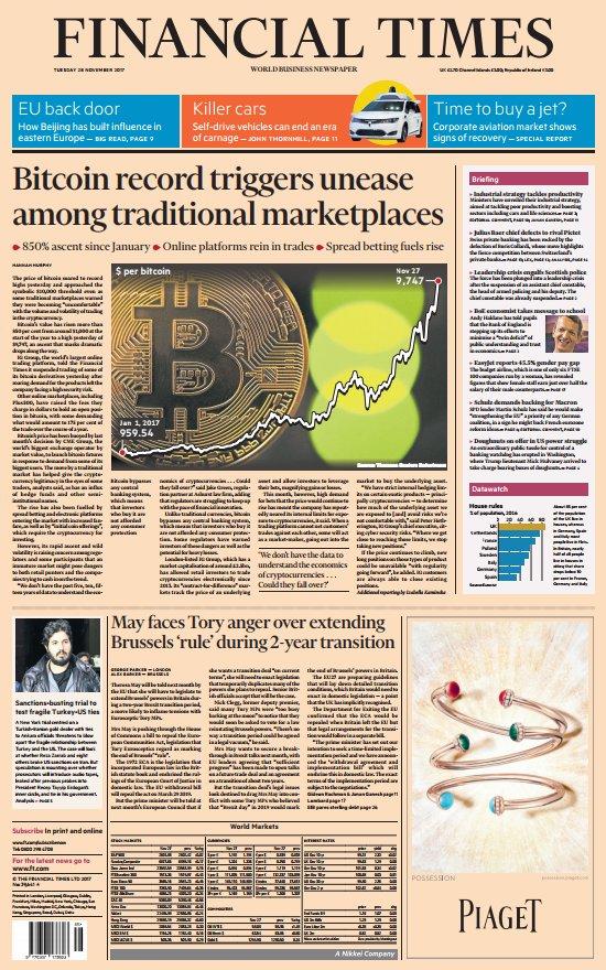 """SkyNews op Twitter: """"FINANCIAL TIMES FRONT PAGE: Bitcoin-record zorgt voor onrust onder de traditionele marktplaatsen #skypapers... """""""