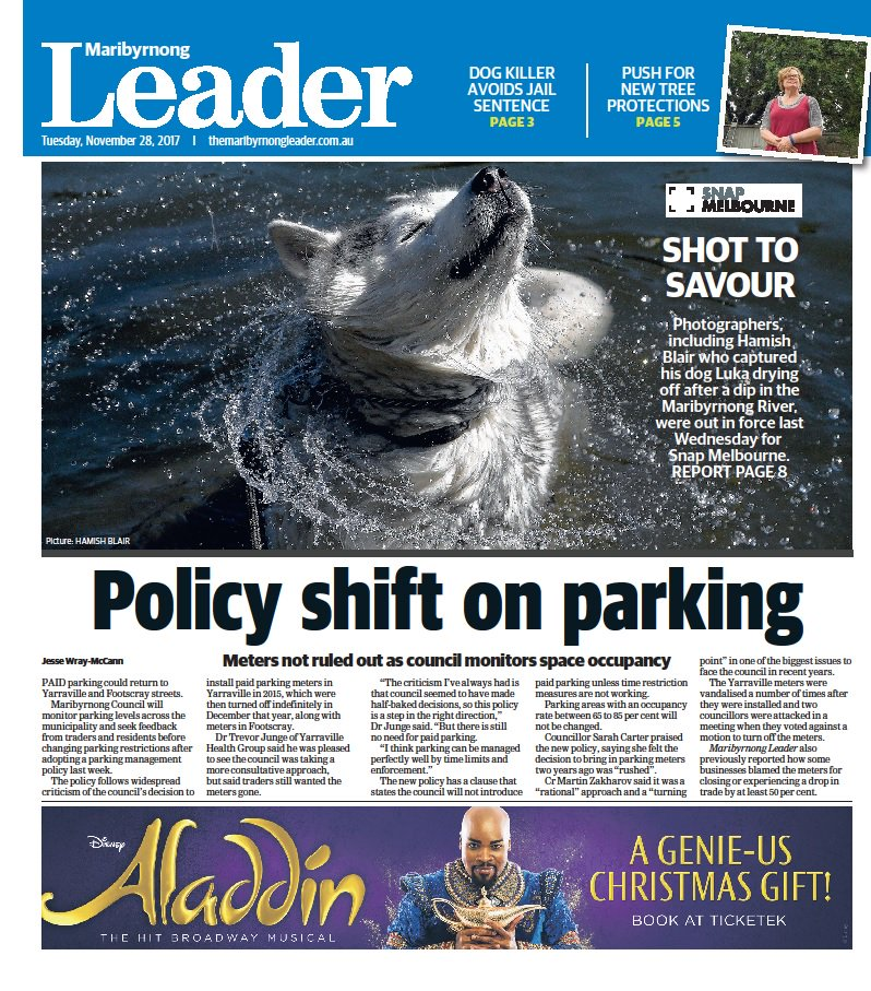 In this week's @maribyrnongldr, parking meters could be turned on in Yarraville and Footscray, man who bashed dog to death has sentence reduced, and anger over the removal of a historic oak tree. Digital edition: https://t.co/A7W2CdYmnL https://t.co/OxdQY15Xab