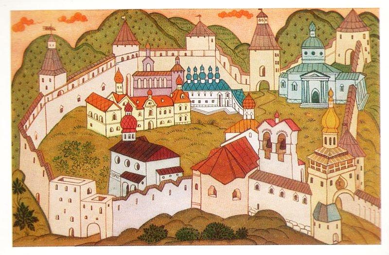 Старый русский город рисунок