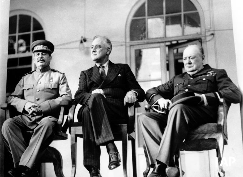"""#This_day_in_history  On November 28, 1943 US President Franklin D. Roosevelt, British Prime Minister Winston Churchill and Soviet leader Joseph Stalin met in Tehran during World War II. It was the first meeting between the """"Big Three"""" Allied leaders"""