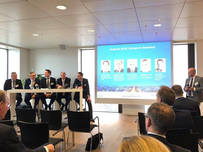 #Outlook2018 Europe & Germany: Matthias Leube, CEO Colliers Germany, spricht auf dem Panel von @PropertyEU in #Frankfurt. t.co/9Zlsqi7OhI