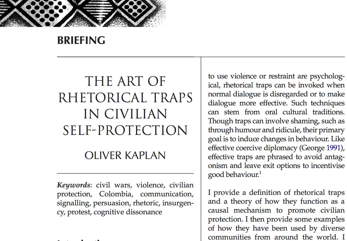 My New JournalPeaceDev Article Has Some Great Anecdotes Stories Of How NONVIOLENT Civilians Use Rhetorical Traps To Influence Armed Actors Stop