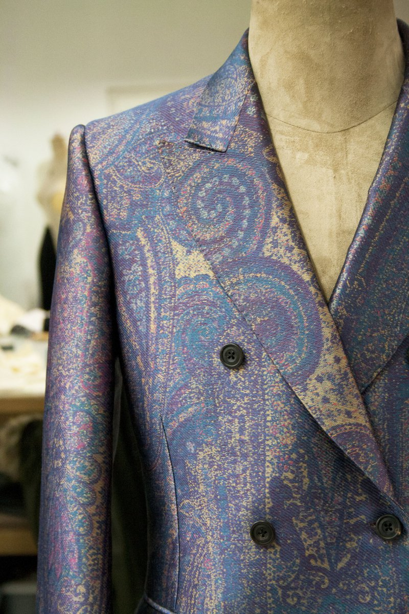 In the atelier: the bespoke #AlexanderMcQueen multi-colour paisley jacket in jacquard worn by  at the ARIA Awards.