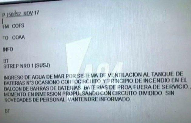ARA San Juan | Revelaron el último mensaje del submarino