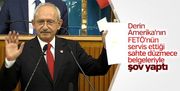 Cumhurbaşkanı Erdoğanın yurt dışında hesapları olduğunu iddia eden Kılıçdaroğlu, kendisine servis edilen sahte belgelerle şov yaptı.
