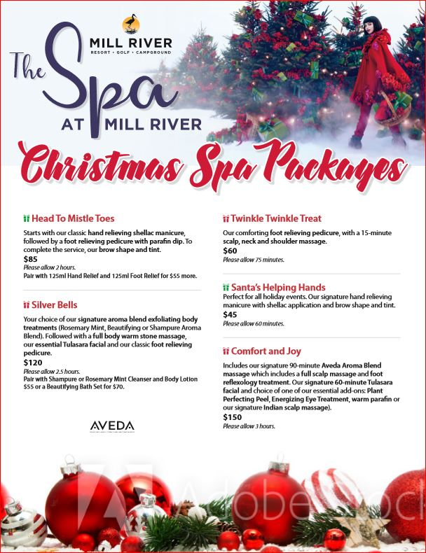 Christmas Spa Packages.Mill River Resort On Twitter Looking For A Great Christmas
