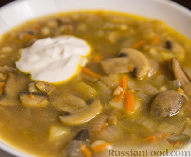 Рецепт грибного супа из сушеных грибов с перловкой