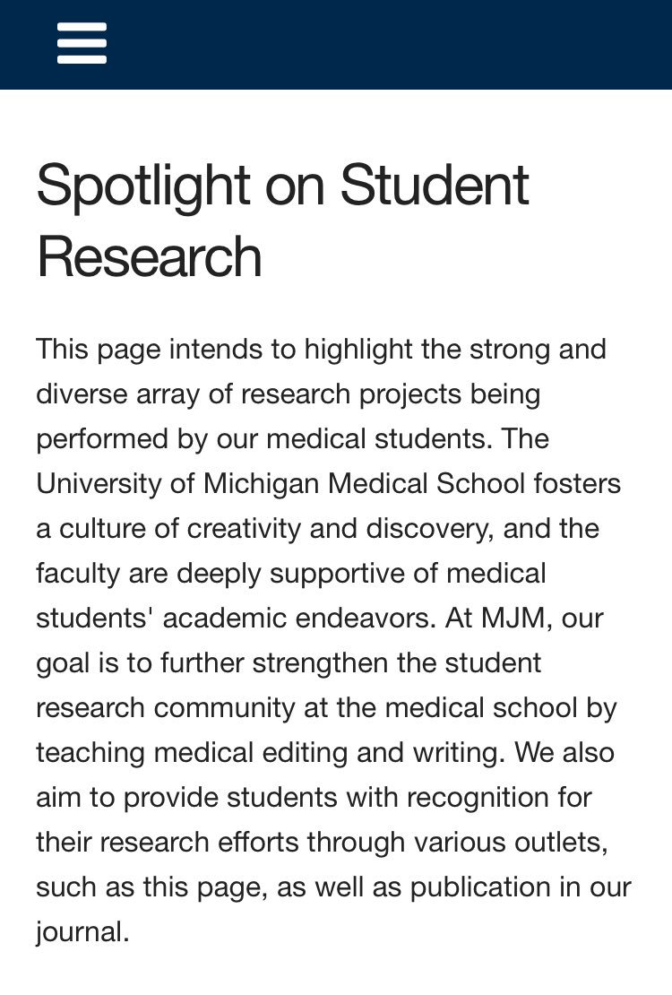 New from @umich_MJM: Research Spotlight, highlighting the interesting research our students and editors are pursuing during their time @umichmedicine. We'll be tweeting out individual spotlights over the next few weeks so keep an  out! #MedEd #MJM #ResearchSpotlight <br>http://pic.twitter.com/Jfql6u8awm