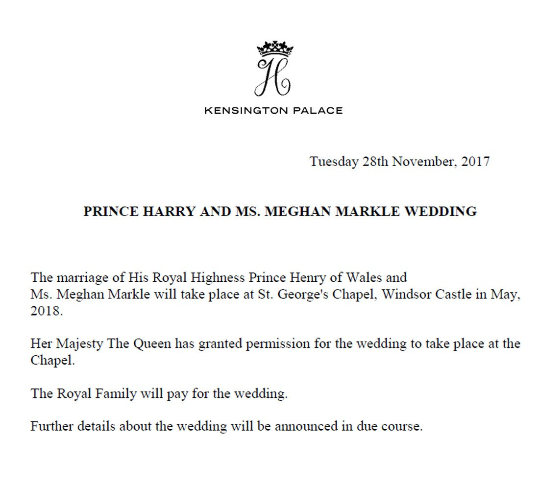Kensington Palace On Twitter The Marriage Of Prince Harry And Ms Meghan Markle Will Take Place At St George S Chapel Windsor Castle In May 2018
