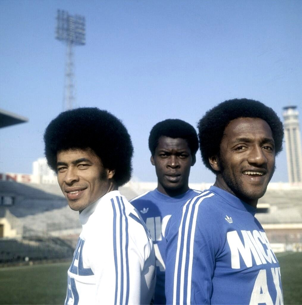 Brazilians Jairzinho and Paulo César Caju behind Marius Tresor at Olympique Marseille in 1975