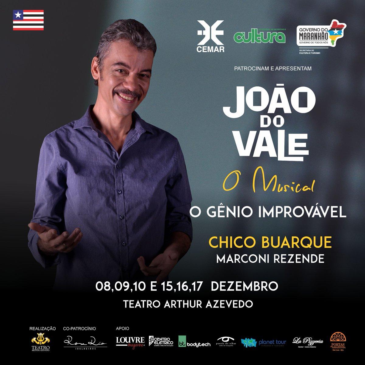 Marcos Rezende é Chico Buarque em 'João do Vale - O Musical'. O espetáculo produzido desde o início do ano, promete marcar em grande estilo a reinauguração do Teatro Arthur Azevedo https://t.co/QPyU3jsS92 #GovernoDeTodosNós