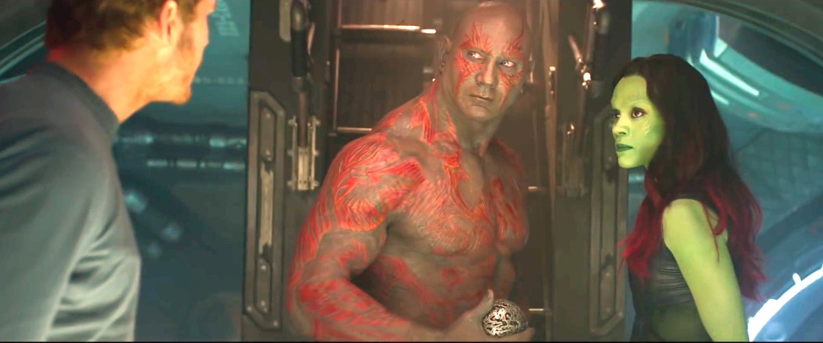 Chris Pratt as Peter Quill / Star-Lord, Dave Bautista as Drax the Destroyer and Zoe Saldana as Gamora