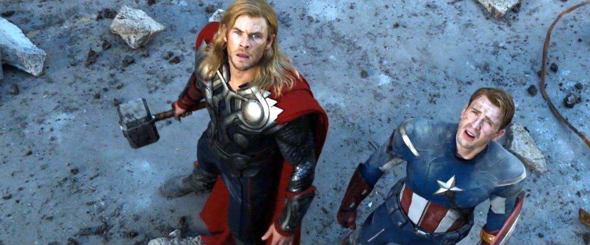 Chris Evans as Steve Roger and Chris Hemsworth as Thor