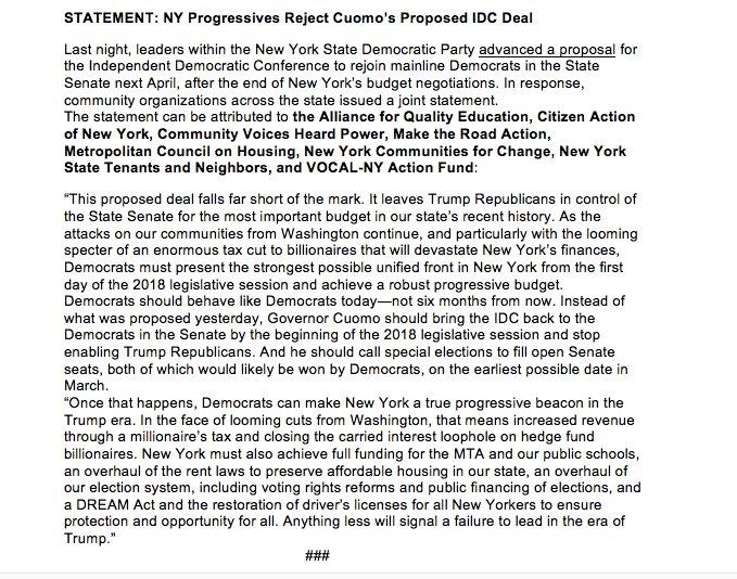STATEMENT: NY Progressives Reject Cuomo'...