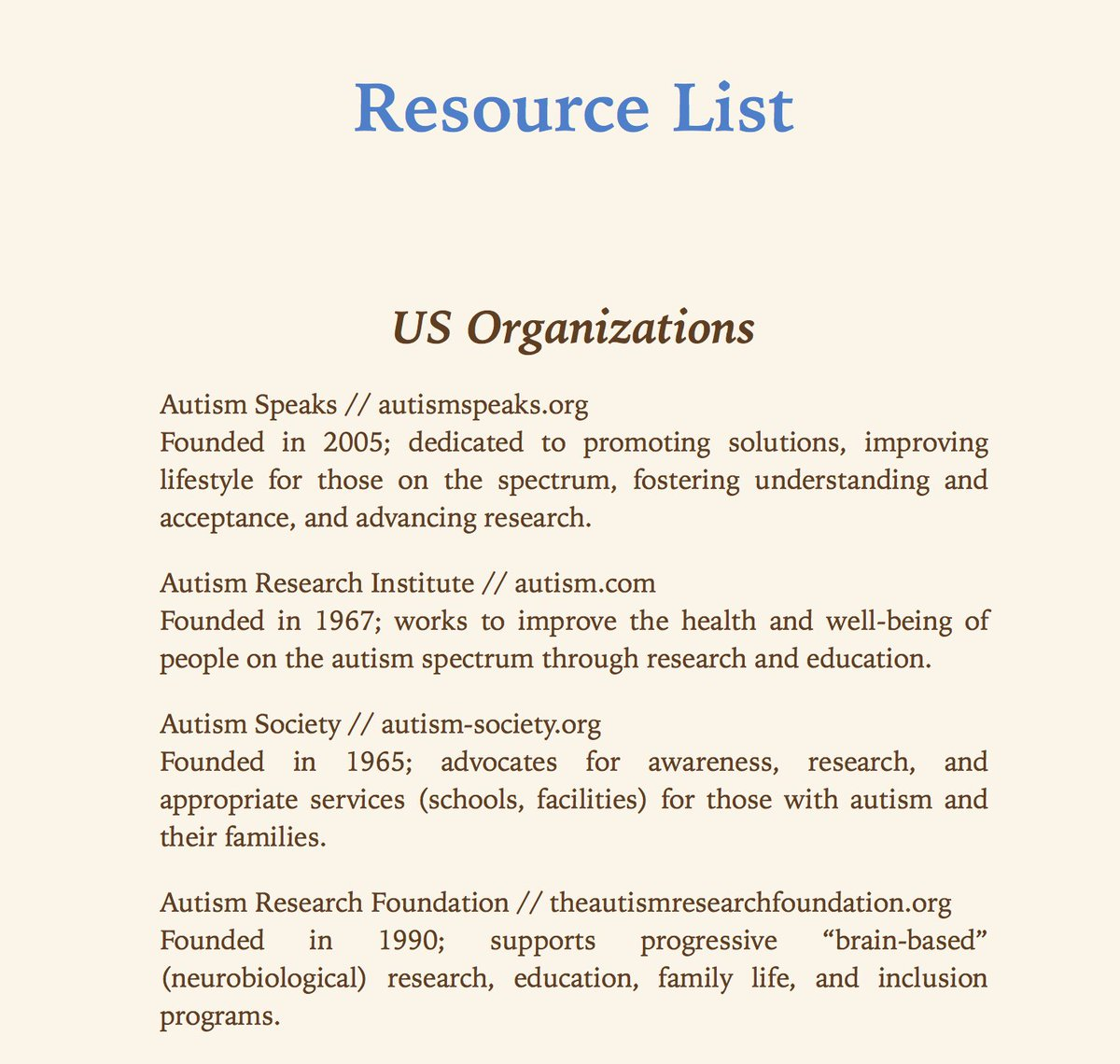 A screenshot from an e-copy of To Siri With Love that lists Autism Speaks first in a list of US organizations.