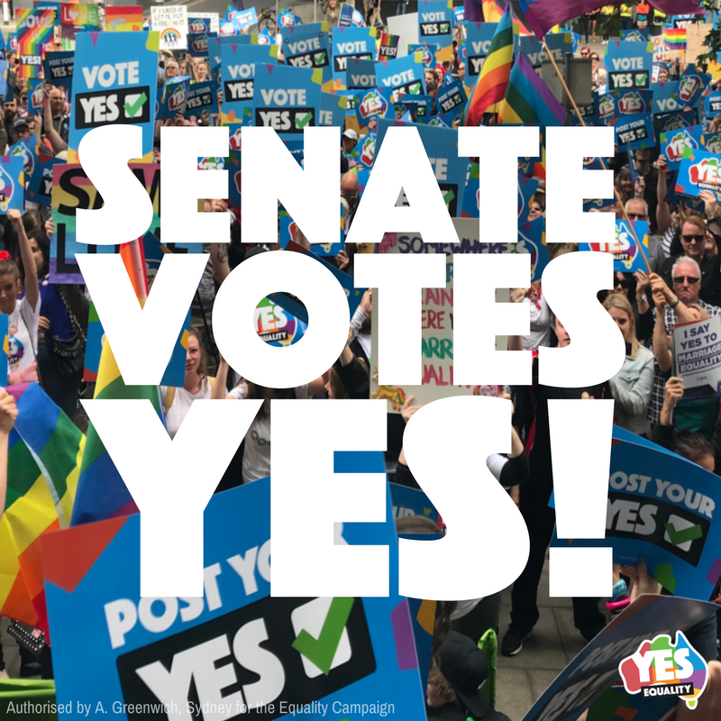 BREAKING: Australian Senate has passed the #MarriageEquality bill by 43 votes to 12! This is historic — and it's because of you. We did this together!  Next week it heads to the House of Representatives. It's time for our MPs to get this done.