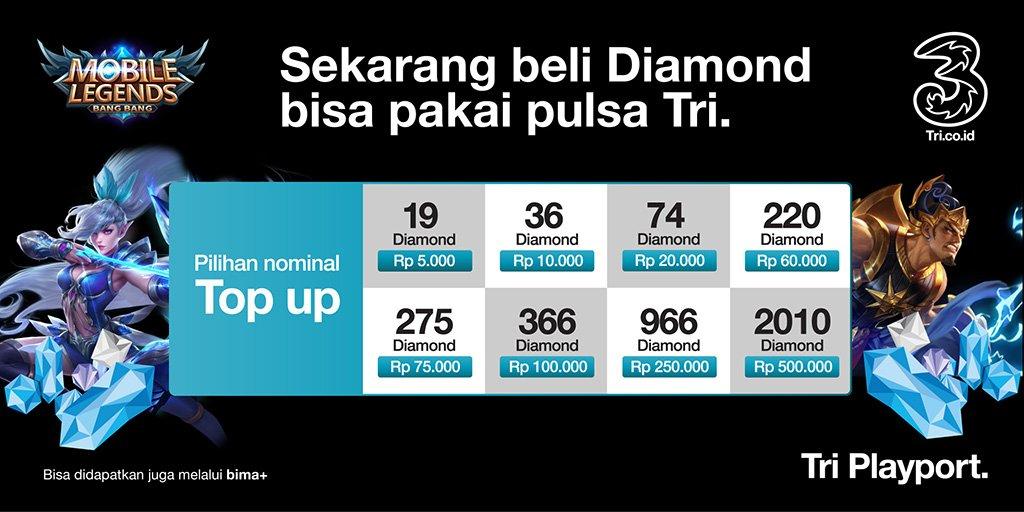 3 Indonesia Na Twitteru Siapa Di Sini Yang Lagi Perlu Banget Beli Diamond Mobile Legends Tapi Nggak Ada Kartu Kredit Nah Sekarang Kamu Bisa Beli Diamond Pake Pulsa Tri Nih Langsung Aja