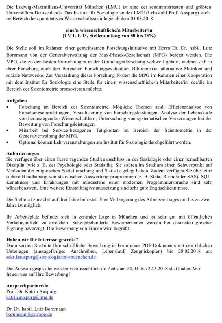 Meta-science PhD position (3+2 years) at LMU Munich: Research performance  evaluation, bibliometrics, altmetrics, social network analysis  (announcement is in ...
