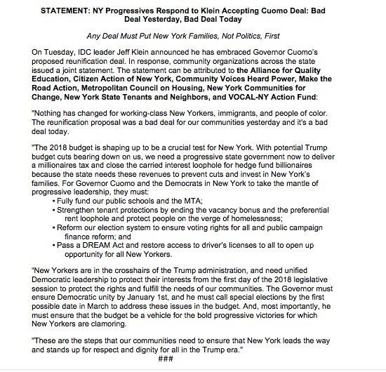 STATEMENT: NY Progressives Respond to Kl...
