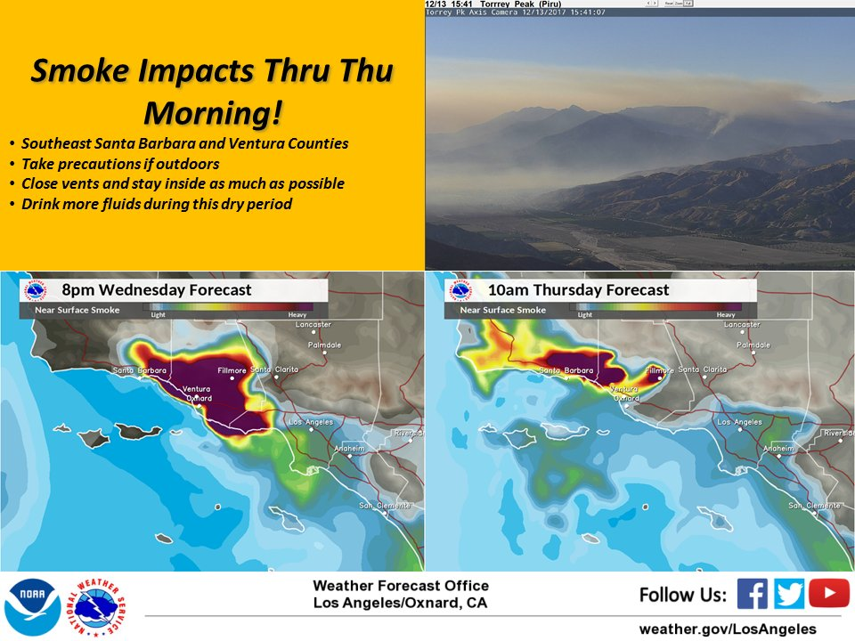 Smoke impacts from #ThomasFire through Thursday morning. #cawx #LAWeather #SoCal