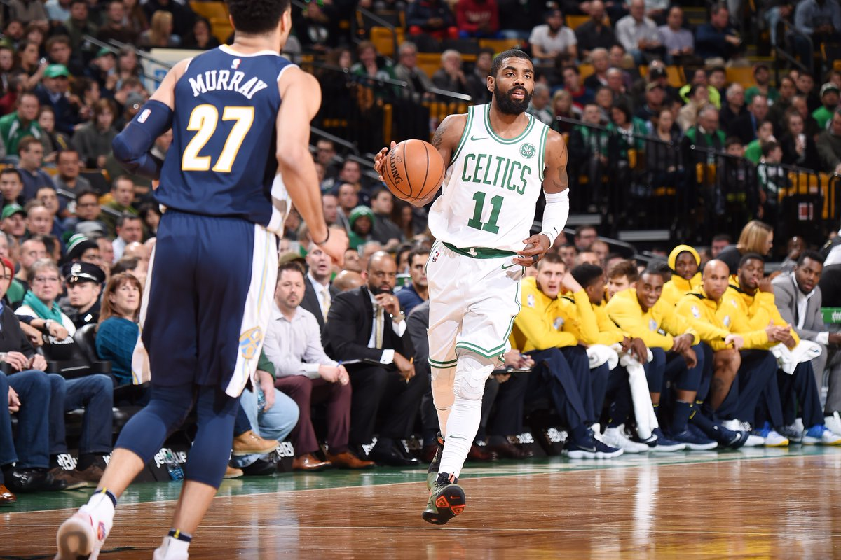 Kyrie Irving and Gary Harris each pour in 15 points at the half.  @celtics on top of @nuggets 68-59 on #NBA League Pass.