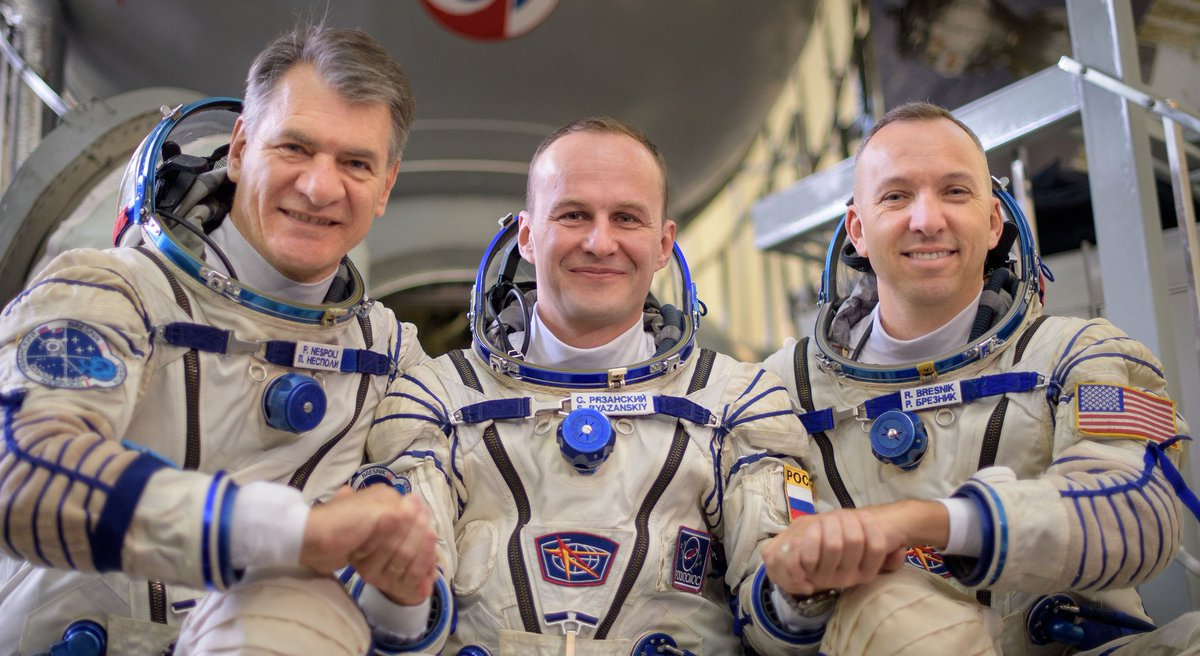 Three crew members who have been in space for 139 days are set to say farewell, enter their Soyuz spacecraft and close the hatch at 9 p.m. EST. https://t.co/V0behVh3eG