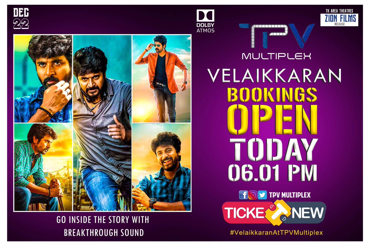 Here is the day you all have been waiting for !! Bookings open at 06:01 PM #today. A promising movie talking about the problems in today&#39;s world. Sharp at 6:01 look out.  #VelaikkaranBookingsFromToday<br>http://pic.twitter.com/9h38jylPeb