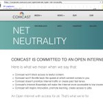 Here's what @comcast removed from their Net Neutrality page. They no longer promise to:  -Not throttle back the speed at which content comes to you -Not prioritize Internet traffic or create paid fast lanes -Make internet accessible to low income families  https://t.co/tRoOTyATYk