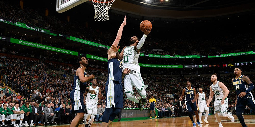 Ball game! Celtics: 124, Nuggets: 118.  C's shoot a scorching 59.5 percent from the floor in the win. Irving: 33 points, 7 assists. Brown: 26 points. Larkin: 14 points off the bench on a perfect shooting night (6-for-6 from the field, 2-for-2 from the FT line).