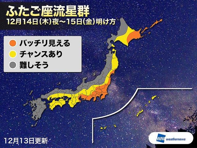 【新月直前】今夜がピーク、年間最大のふたご座流星群 1時間に40個程度 https://t.co/qSTECcX9WX  太平洋側では流星観測に期待ができそう。放射点が空高く上がってくる21時以降の観測がおすすめです。