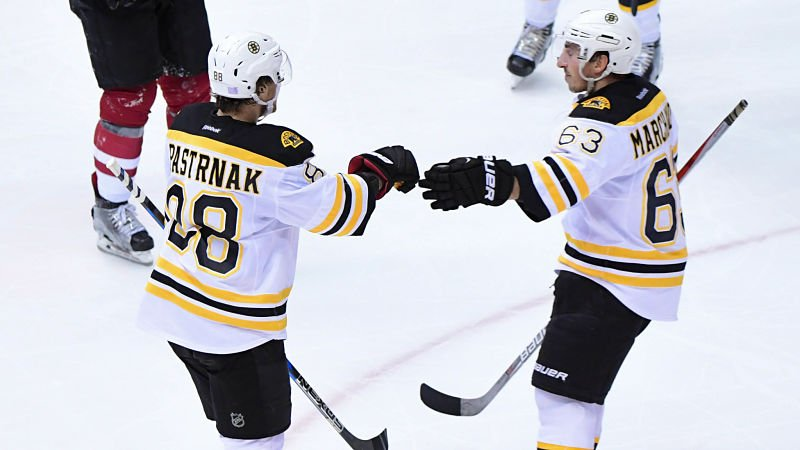 David Pastrnak and Brad Marchand both scored clutch goals in the Bruins' overtime win over the Red Wings. WATCH: https://t.co/B6xmTra4c7