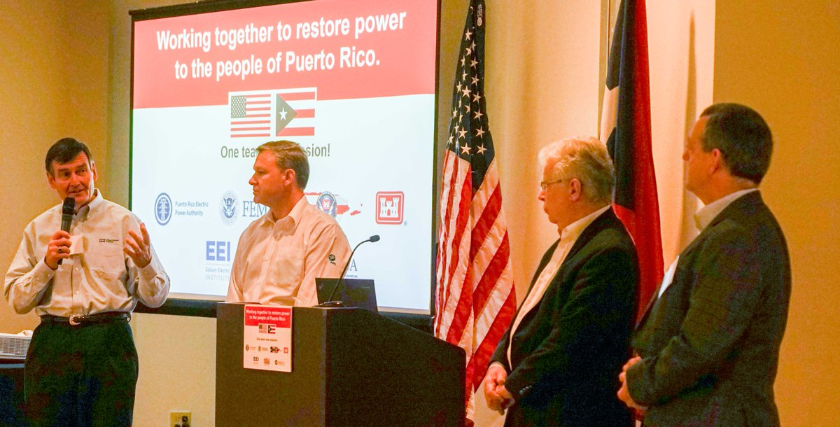 EEI's Tom Kuhn, @insideFPL's Eric Silagy, @NRECANews' Martin Lowery & @puplicpowerorg's  add@mike_hyress seven incident management teams today in San Juan.