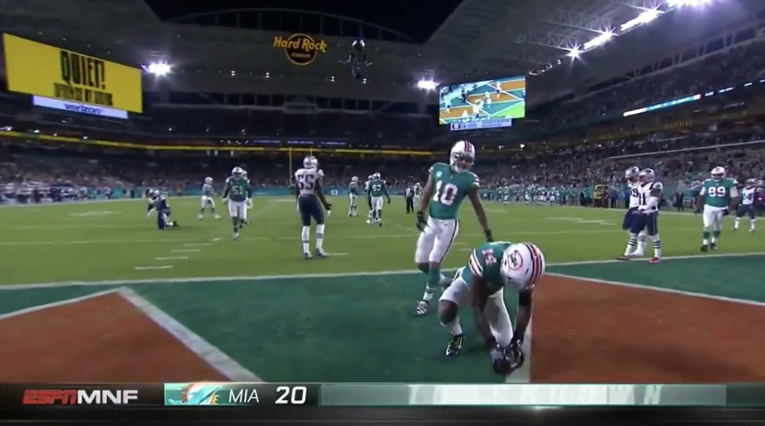 Jarvis Landry pumped air into the football after scoring on the Patriots 😂  #MNF