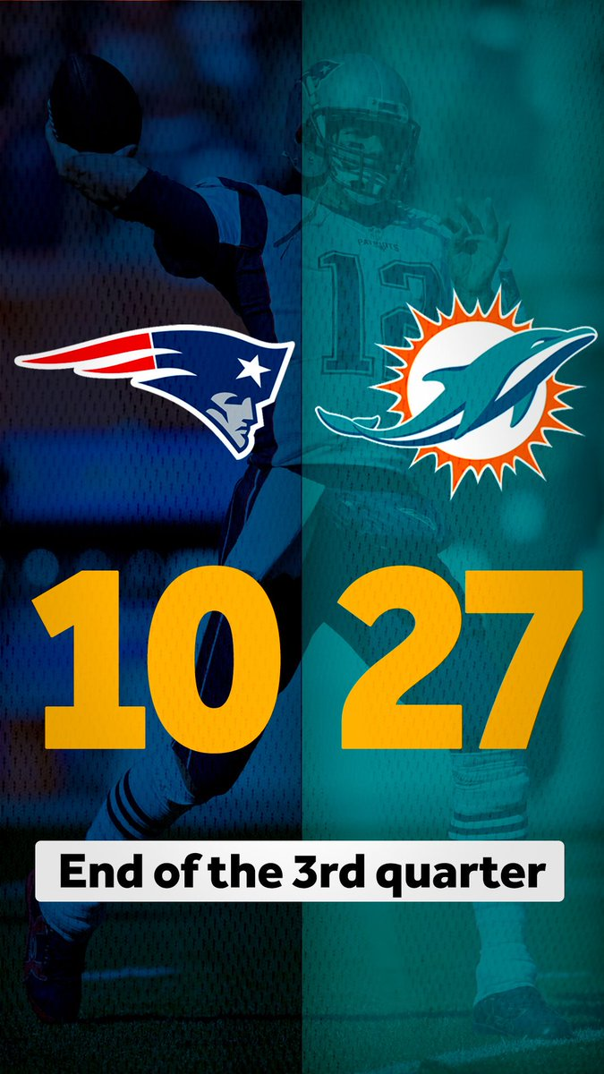 Some #Patriots momentum at the end of that quarter. Can they mount a 4th quarter comeback?  #NEvsMIA #MNF
