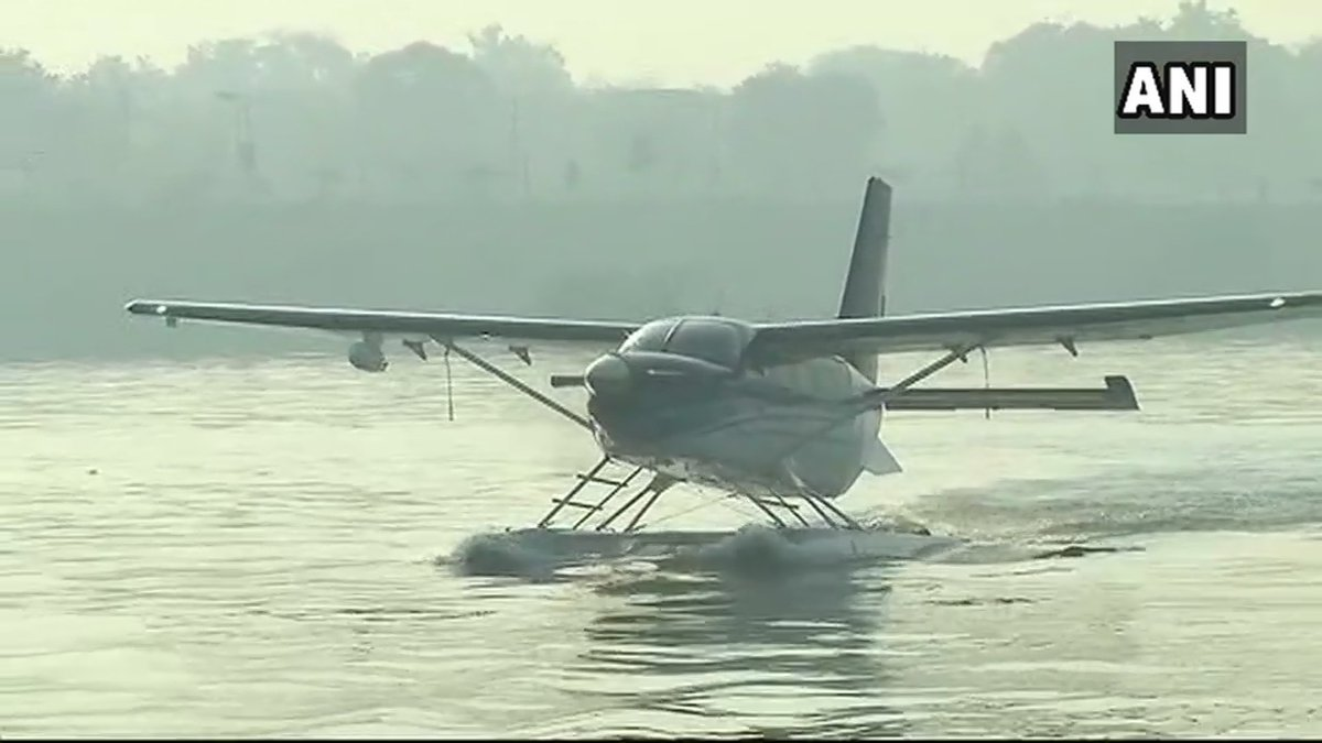 Prime Minister @narendramodi to travel from Sabarmati River in Ahmedabad to Dharoi Dam via #seaplane shortly (Pics: ANI)  Watch LIVE: https://t.co/hMlRpgrUU6