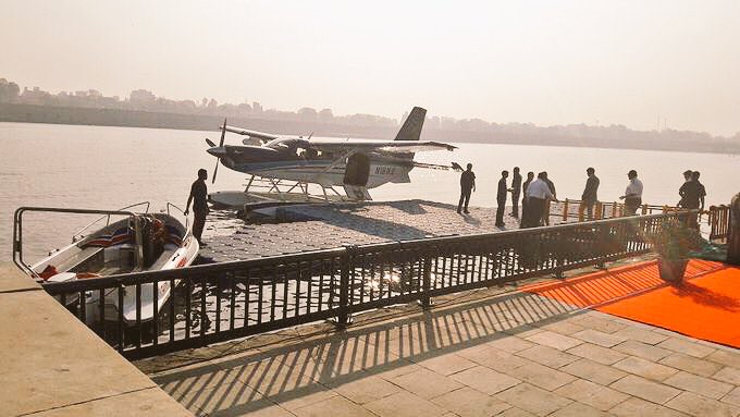 PM boards seaplane from river Sabarmati