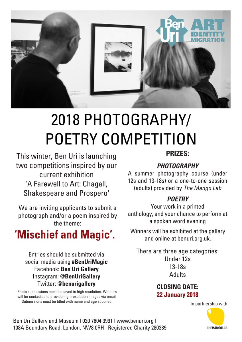 Budding photographer or poet? Enter our new competition, theme: Mischief and Magic, inspired by our current exhibition 'A Farewell to Art'. Share your photo/poem using #BenUriMagic for a chance to win! Closing date 22 Jan.
