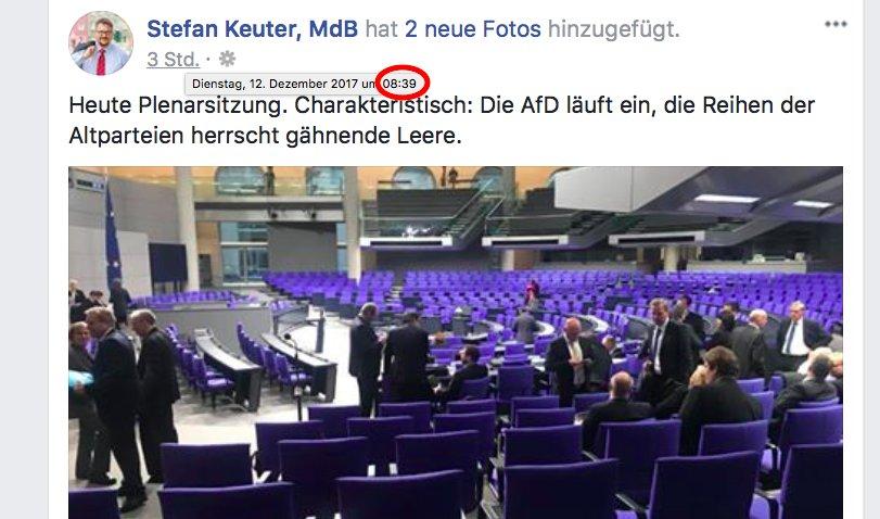 Endlich wieder eine harte Opposition im #Bundestag: #AfD-Abgeordnete sind 21 Minuten vor Sitzungsbeginn im Plenum, um dann empört die Abwesenheit der 'Altparteien' über Social Media zu dokumentieren. Not impressed!