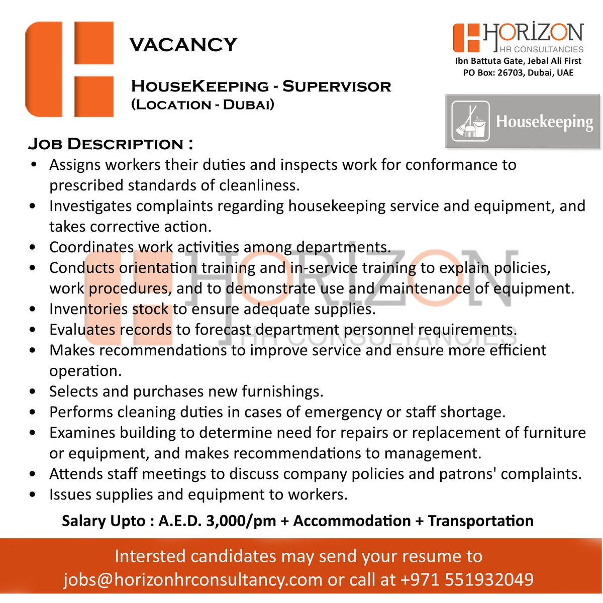 Horizon Capital Hr Consultancies On Twitter Now Hiring Housekeeping Supervisor Location Dubai Dubaibiz Hotjob Jobs Sharjaha Abudhabi Uae