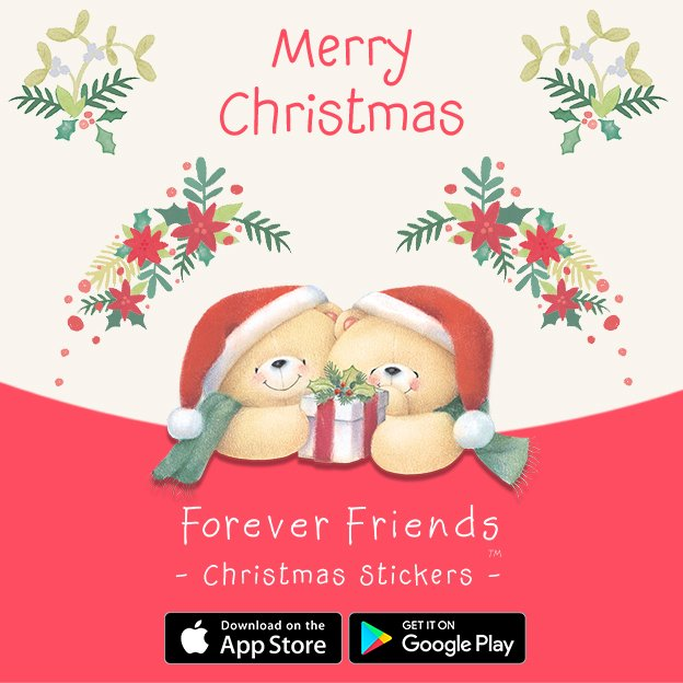 happy christmas news forever friends christmas stickers now available for iphone and android download today to make your december messages extra cute and