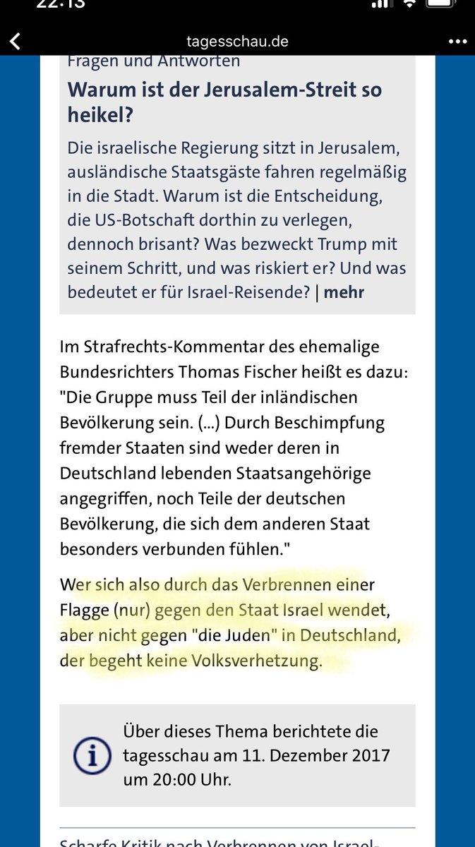 """Laut @tagesschau richtet sich Verbrennung von Davidsternen """"nur"""" gegen Israel, nicht gegen Juden, und ist daher keine Volksverhetzung. Na ein Glück!"""