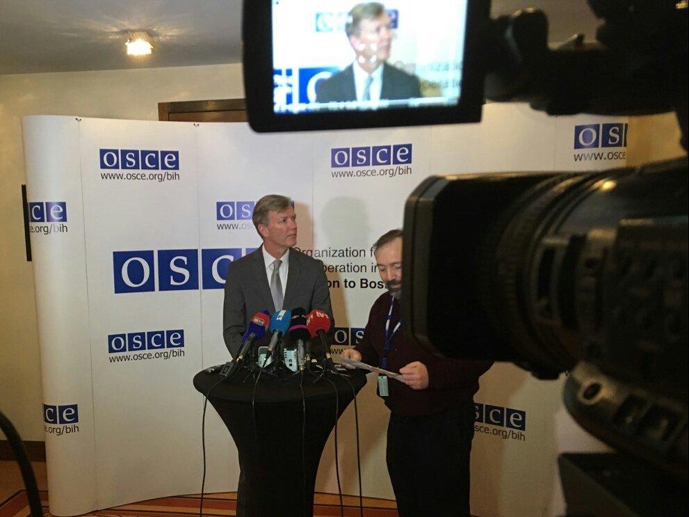 @OSCEBiH Amb. @BertonBG  addresses #Medi...