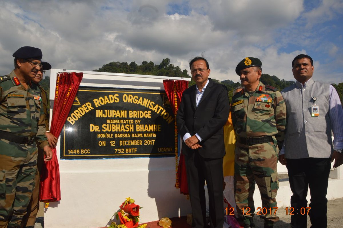 Arunachal Pradesh: MoS Defence @DrSubhashMoS inaugurates Eze/Deo pani and Eju bridges at Roing in Lower Dibang Valley district.