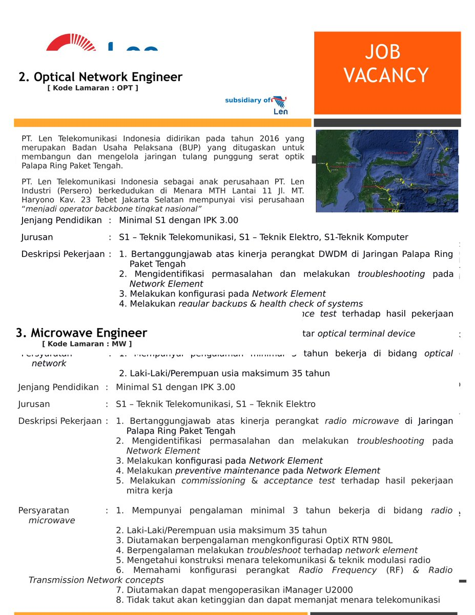 Tel U Career On Twitter Job Vacancies Pt Len Telekomunikasi Indonesia Https T Co 3v34ckz2kz