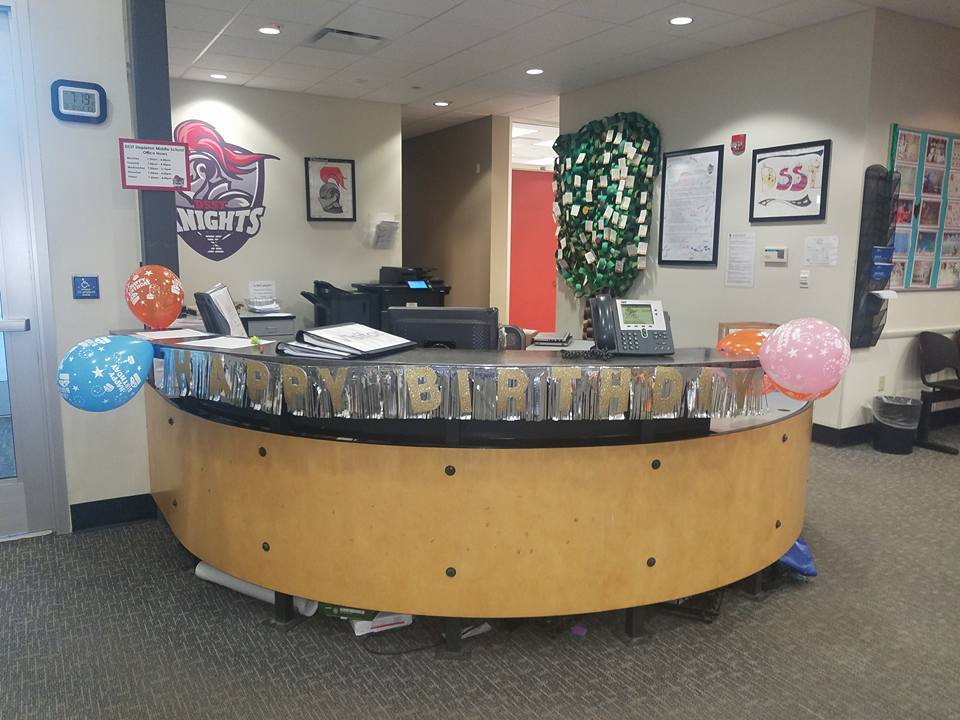 A Student At Dsst Stapleton Middle School Got To Campus 6 20 M This Morning Decorate The Desk Of Front Office Istant Karen For Her Birthday