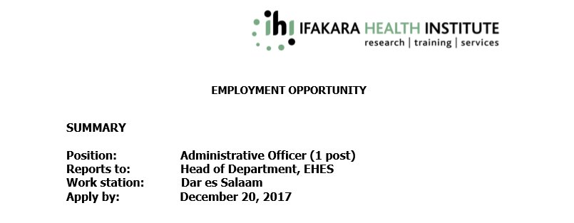 IHI is looking for a qualified individual to take the position of Administrative Officer. zoomtanzania.com/jobs/administr…